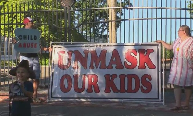 Parents protest outside the governor's mansion calling on CT leaders to 'unmask our kids'